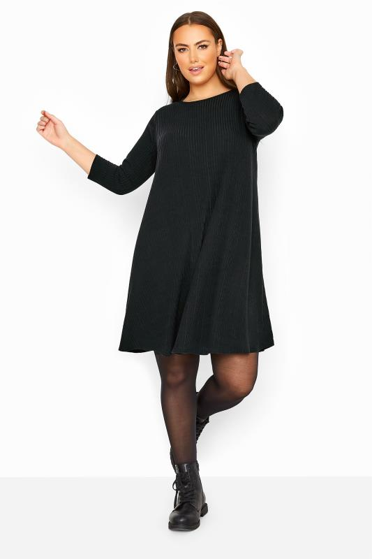 Plus Size  LIMITED COLLECTION Black Ribbed Swing Dress