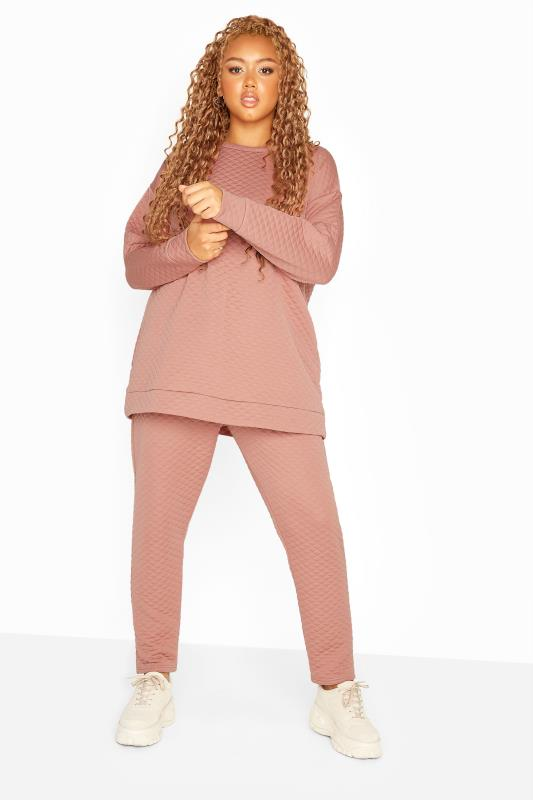 Plus Size  Dusky Pink Slim Leg Quilted Joggers