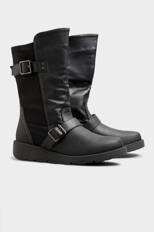 Black Faux Leather Wedge Buckle Boots In Extra Wide Fit_B.jpg