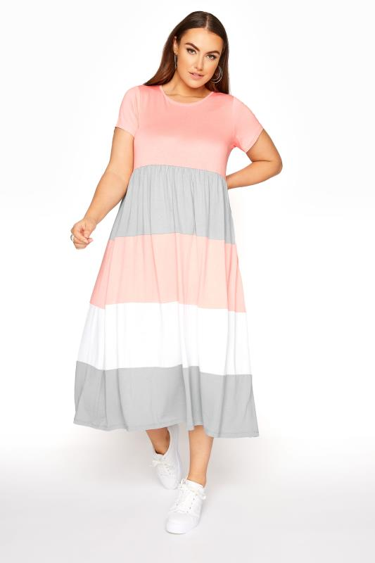 Großen Größen  Pink Colour Block Midaxi Dress