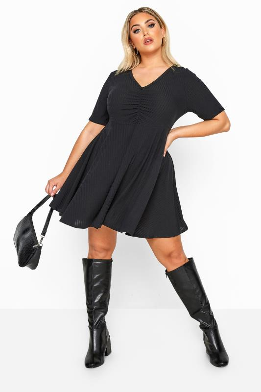 Plus Size Black Dresses LIMITED COLLECTION Black Ribbed Ruched Skater Dress