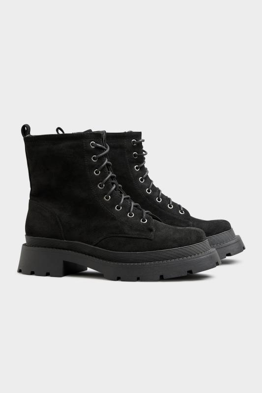 Black Faux Suede Chunky Lace-Up Boot in Regular Fit_B.jpg
