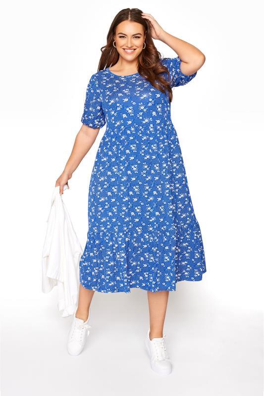 Blue Floral Puff Sleeve Midaxi Dress_B.jpg