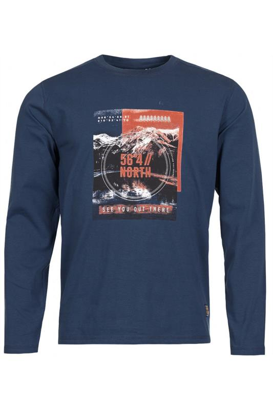 Men's Casual / Every Day NORTH 56°4 Navy Printed Long Sleeve T-Shirt