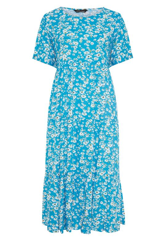 LIMITED COLLECTION Blue Daisy Tiered Smock Dress_F.jpg