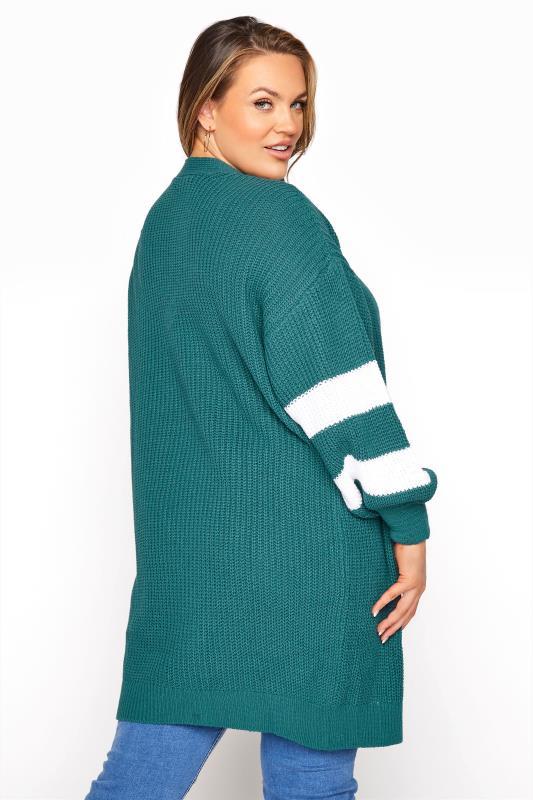 Teal Green Varsity Stripes Knitted Cardigan_C.jpg