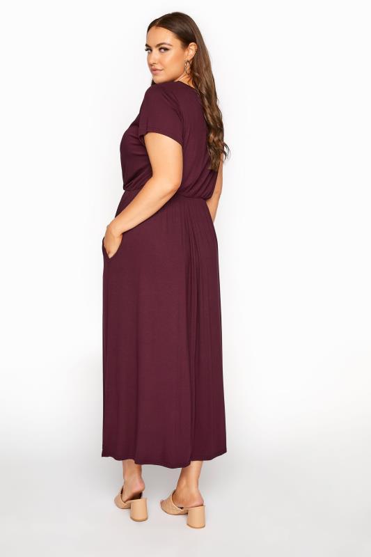 YOURS LONDON Burgundy Pocket Maxi Dress_C.jpg