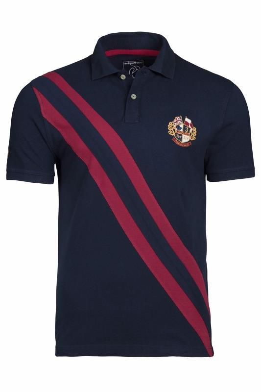 RAGING BULL Navy Diagonal Stripe Polo Shirt