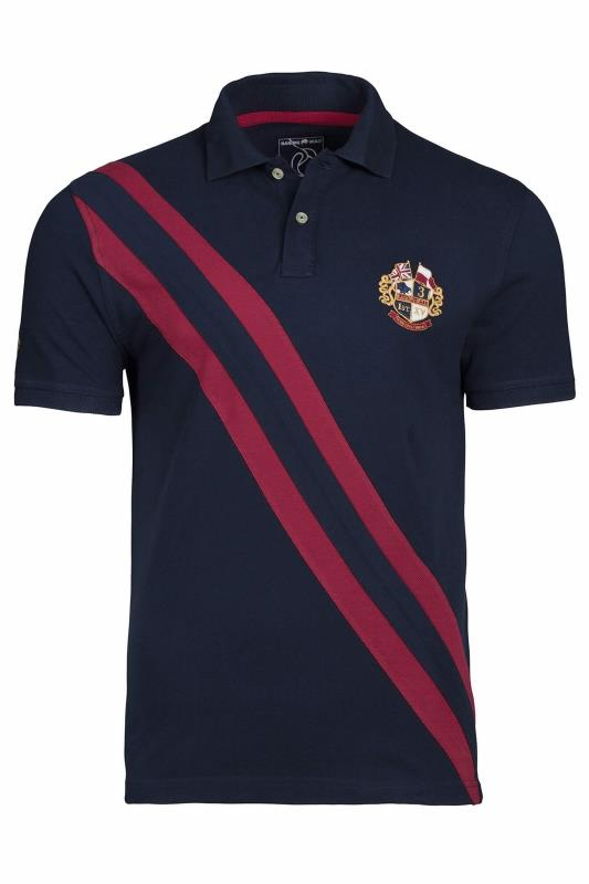 Plus Size  RAGING BULL Navy Diagonal Stripe Polo Shirt