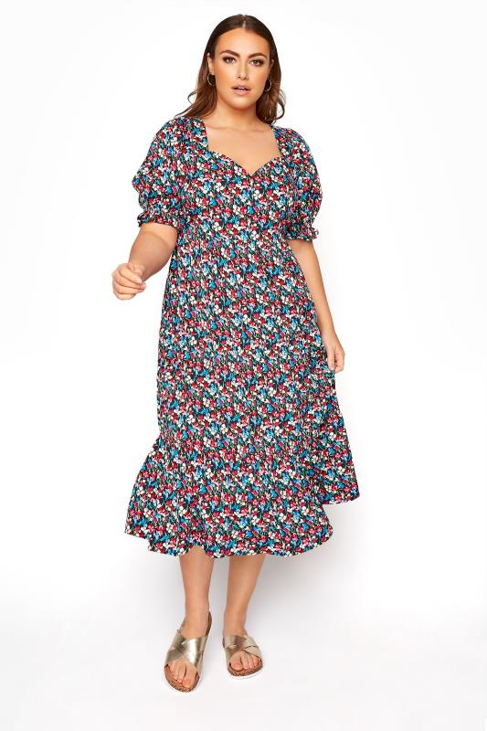 Tallas Grandes LIMITED COLLECTION Black Floral Milkmaid Midi Dress