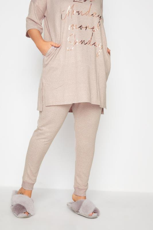 Plus Size  Pink Soft Touch Knitted Lounge Pants