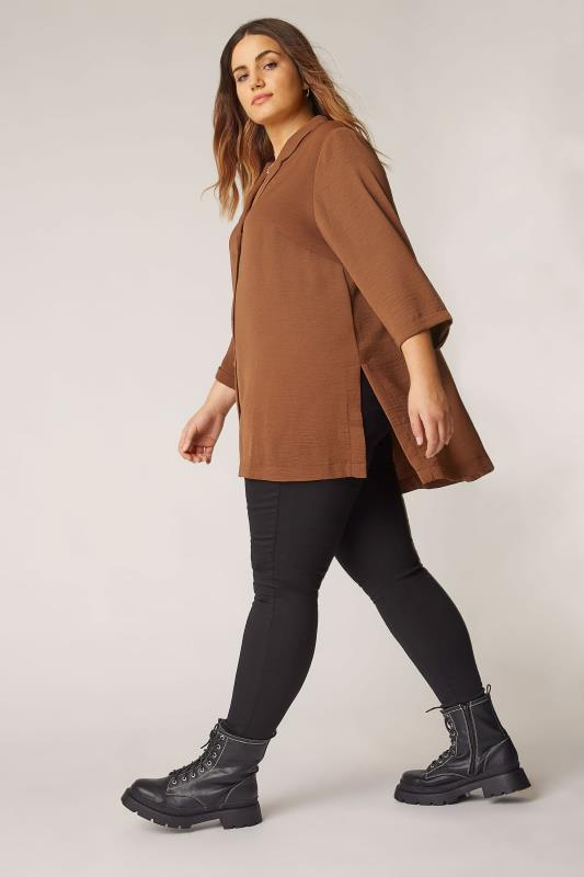 THE LIMITED EDIT Brown Open Collar Blouse_B.jpg