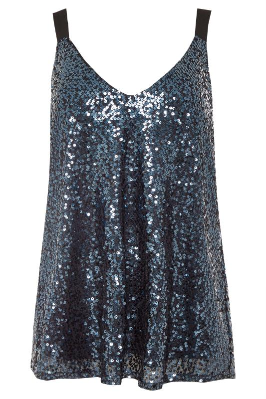 Tall  Midnight Blue Sequin Cami Top