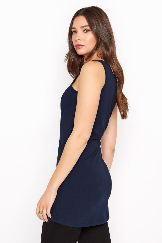 Navy Cotton Longline Tank Top