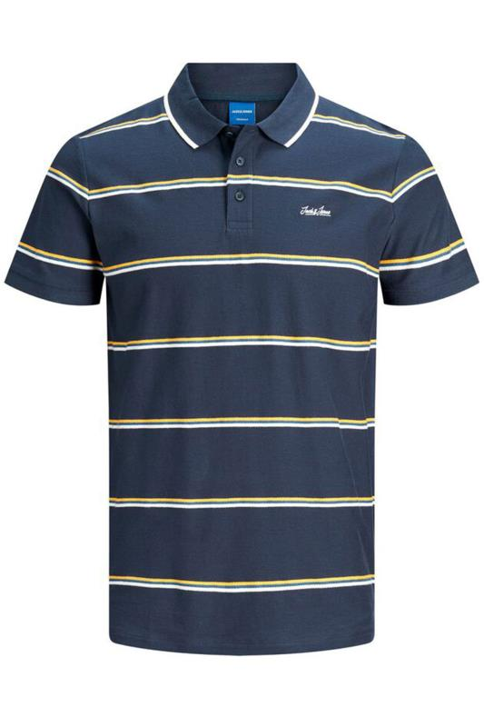 Plus Size Polo Shirts JACK & JONES Navy Stripe Harry Polo Shirt