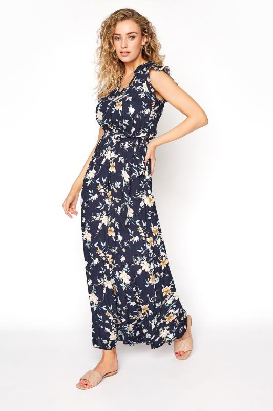 LTS Navy Floral Belted Tie Maxi Dress