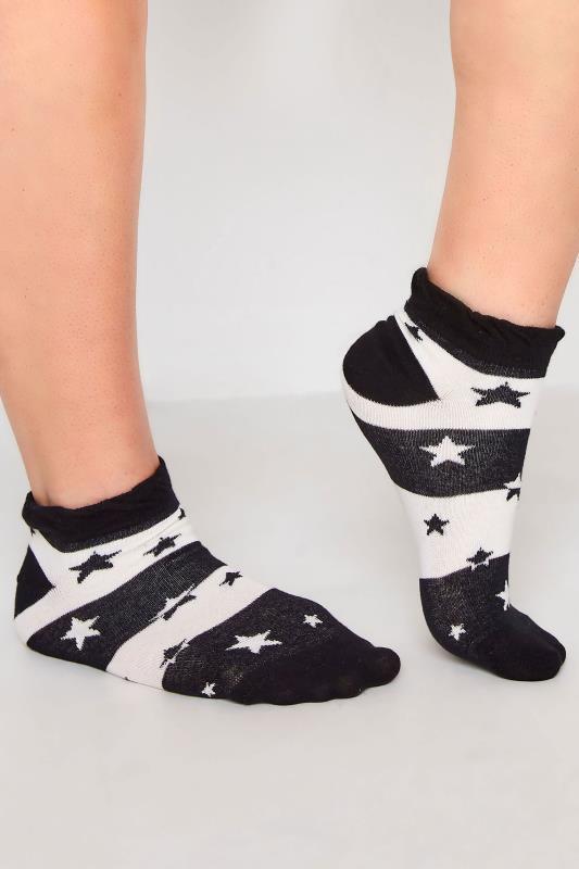 Plus Size  4 PACK Multi Stars & Stripes Trainer Liner Socks