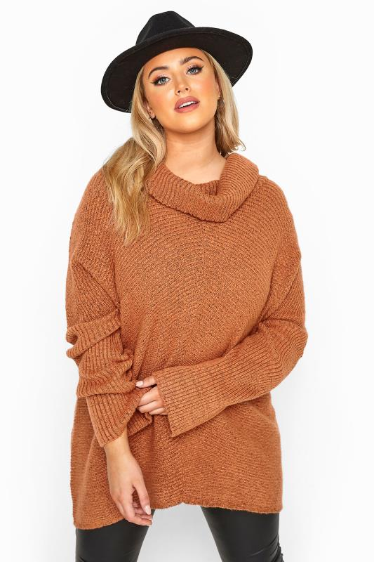 Plus Size Jumpers Rust Orange Chevron Oversized Roll Neck Knitted Jumper