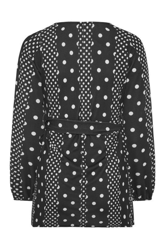 YOURS LONDON Black Polka Dot Wrap Top_BK.jpg