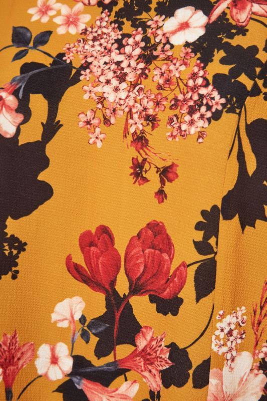 YOURS LONDON Mustard Yellow Floral Balloon Sleeve Blouse_S.jpg