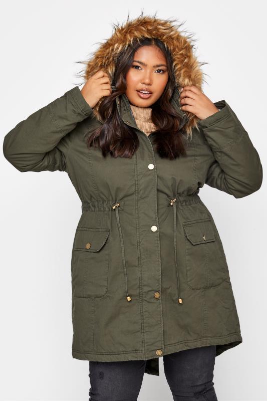 Plus Size  Khaki Faux Fur Trim Hooded Parka