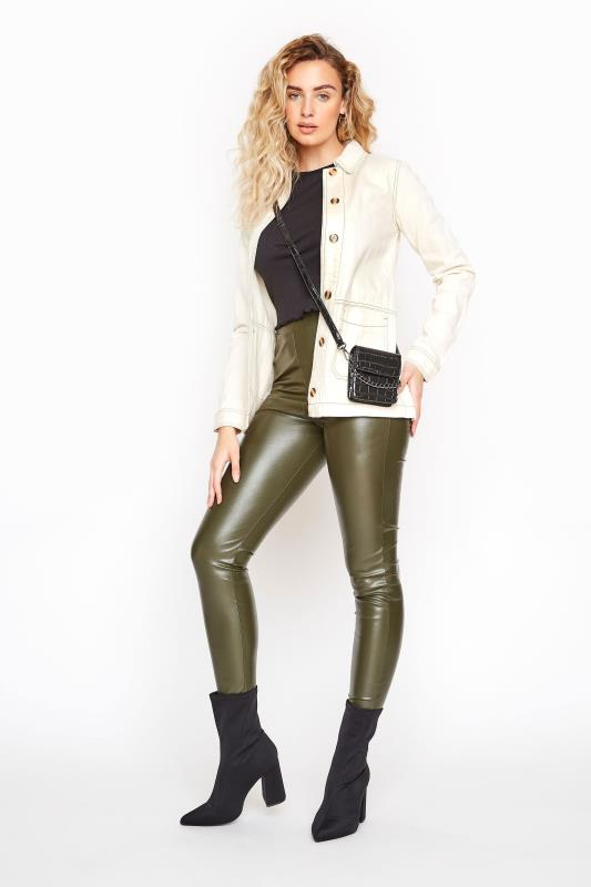 LTS Khaki Leather Look Leggings