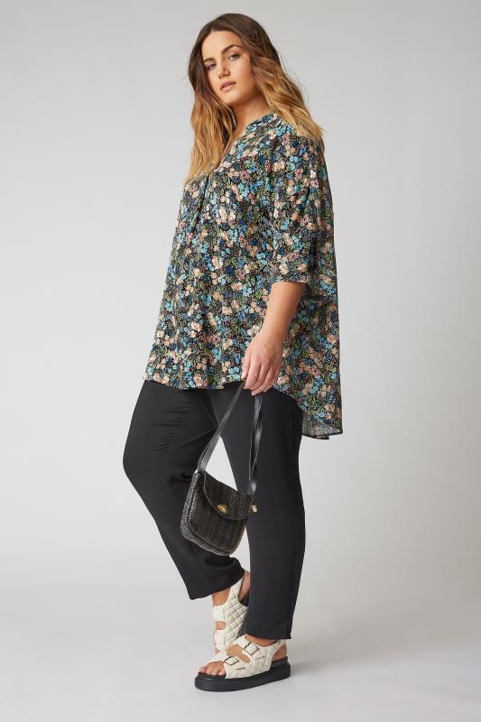 THE LIMITED EDIT Black Multi Floral Pleated Front Top_B.jpg