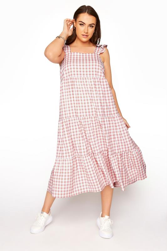 Plus Size  YOURS LONDON Pink Gingham Frill Dress