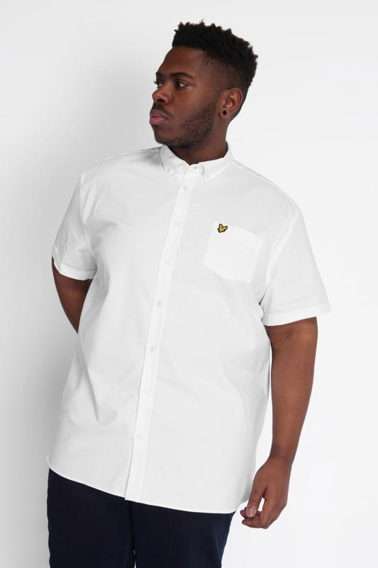 Plus Size  LYLE & SCOTT White Short Sleeve Oxford Shirt