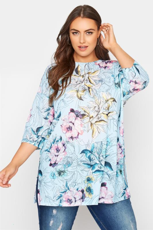 Grande Taille Blue Floral Side Split Tunic