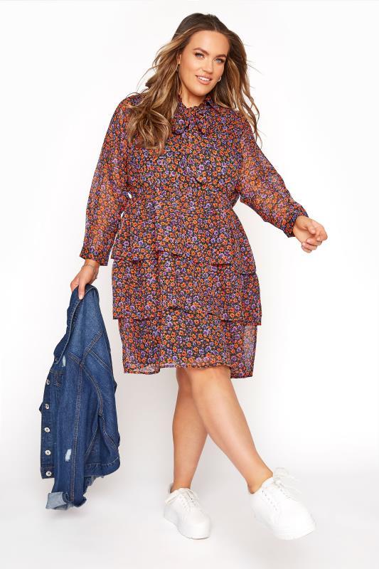YOURS LONDON Purple & Orange Chiffon Floral Tiered Tunic Dress