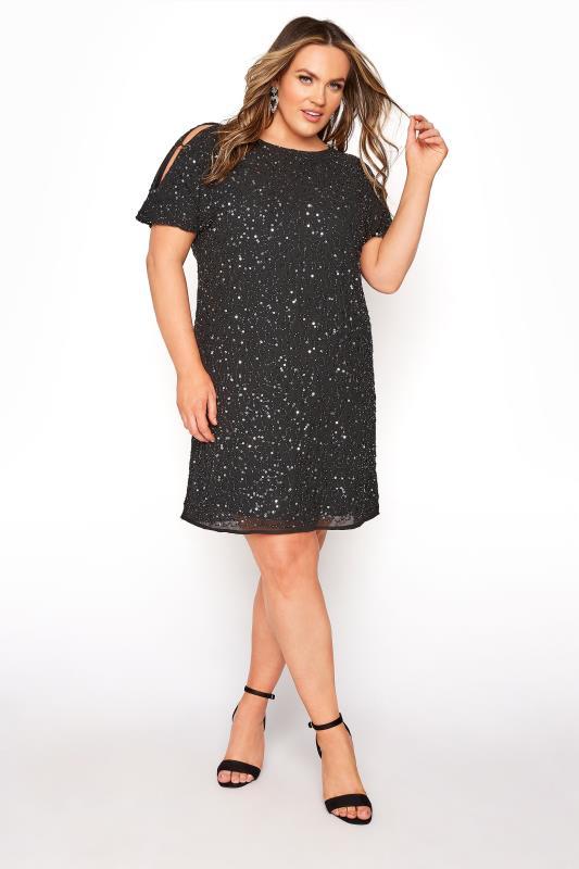 Plus Size Evening Dresses LUXE Black Sequin Cold Shoulder Cape Dress
