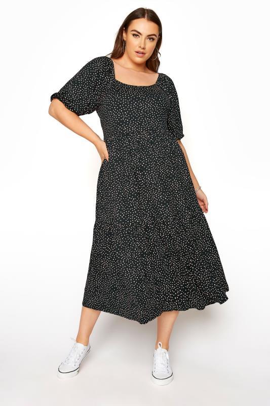 Plus Size  Black Polka Dot Square Neck Midaxi Dress