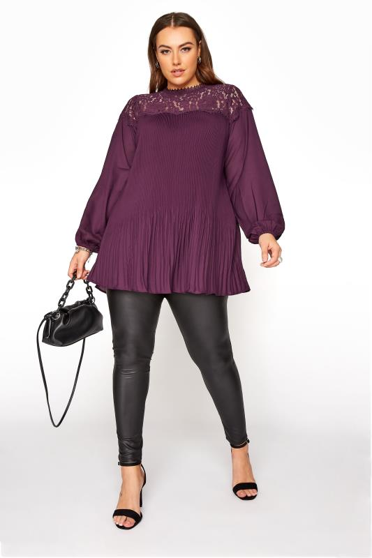 YOURS LONDON Purple Lace Plisse Chiffon Blouse_B.jpg