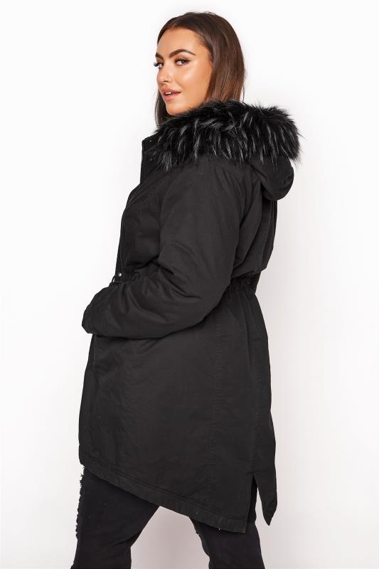 Black Faux Fur Trim Hooded Parka_RC.jpg