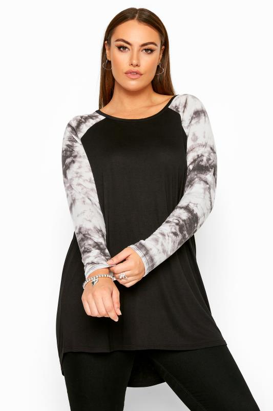 Plus Size Jersey Tops Black Tie Dye Long Raglan Sleeve Top
