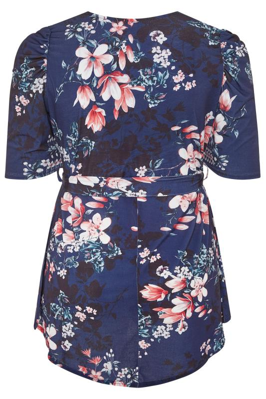 YOURS LONDON Midnight Blue Floral High Low Wrap Top_BK.jpg
