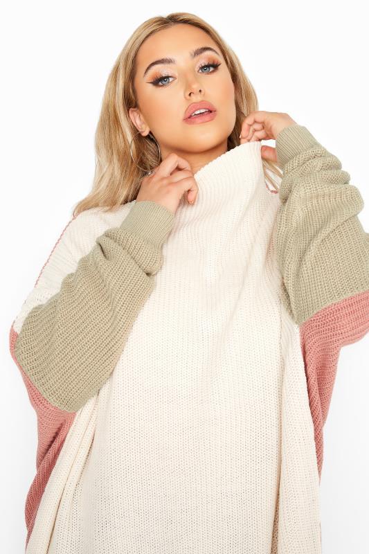 Cream Colour Block Oversized Knitted Jumper_D.jpg