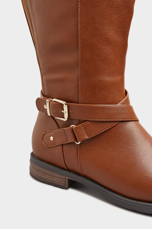 Brown Faux Leather Buckle Knee High Boots In Extra Wide Fit_D.jpg