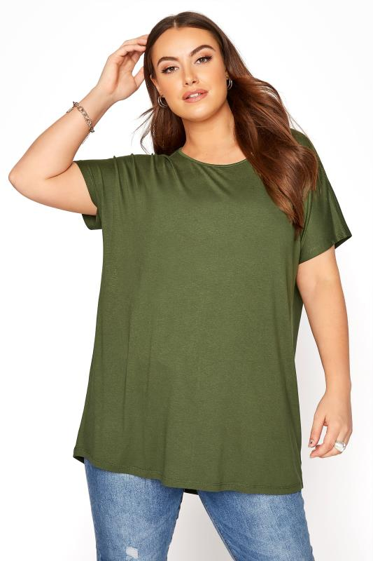 Khaki Grown On Sleeve Dip Back T-Shirt