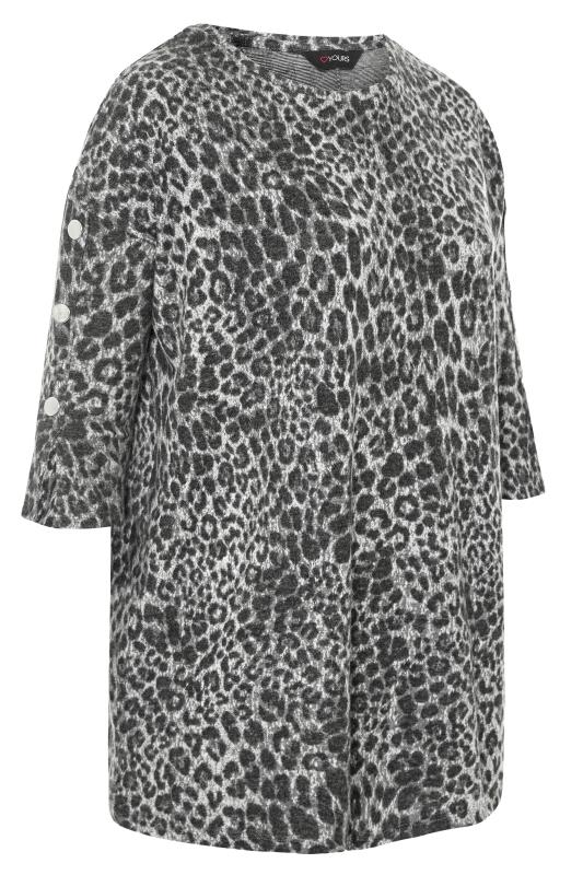 Grey Animal Print Mock Button Soft Knitted Top