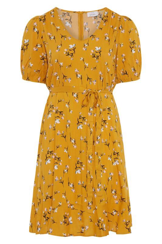 YOURS LONDON Mustard Yellow Floral Ruffle Hem Tea Dress_F.jpg