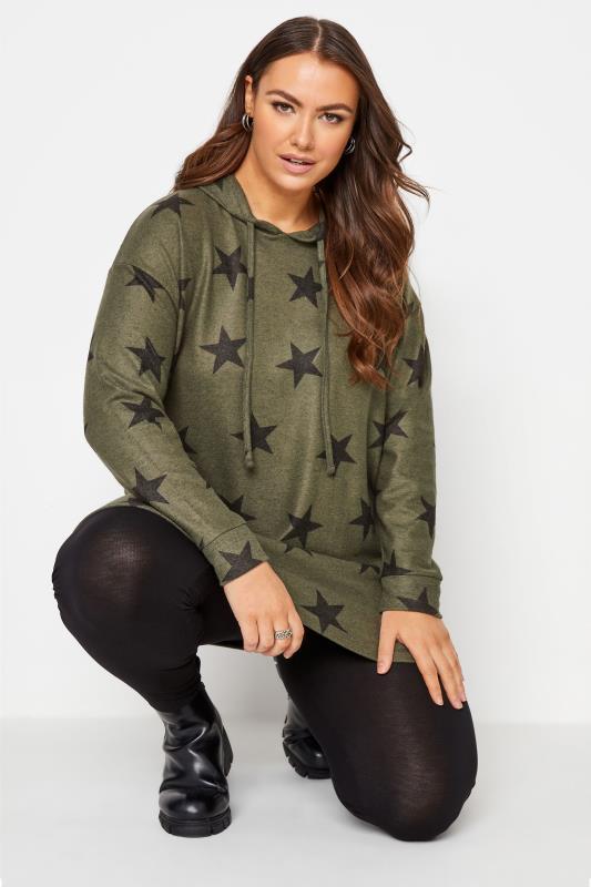 Plus Size  Khaki Green Brushed Star Print Hoodie