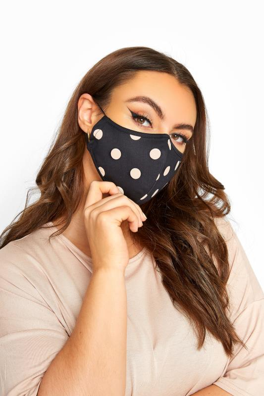 Black Polka Dot Cotton Face Mask