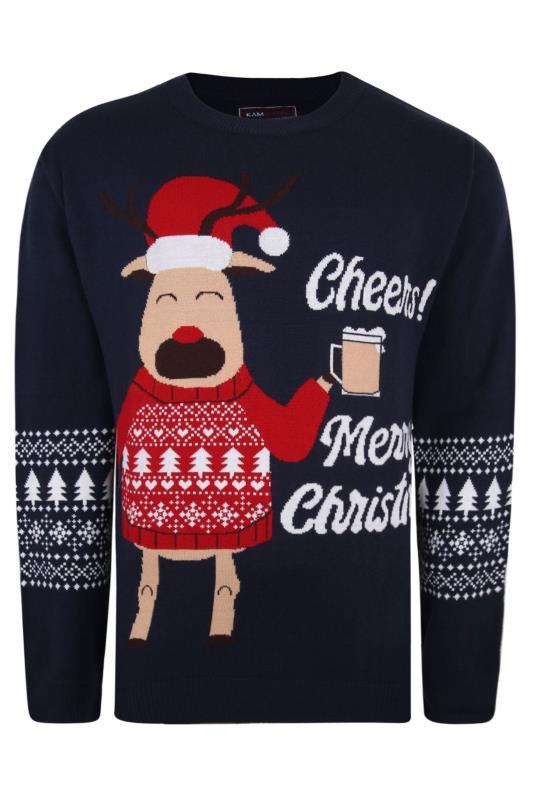 Plus Size  KAM Navy 'Cheers!' Reindeer Knitted Christmas Jumper