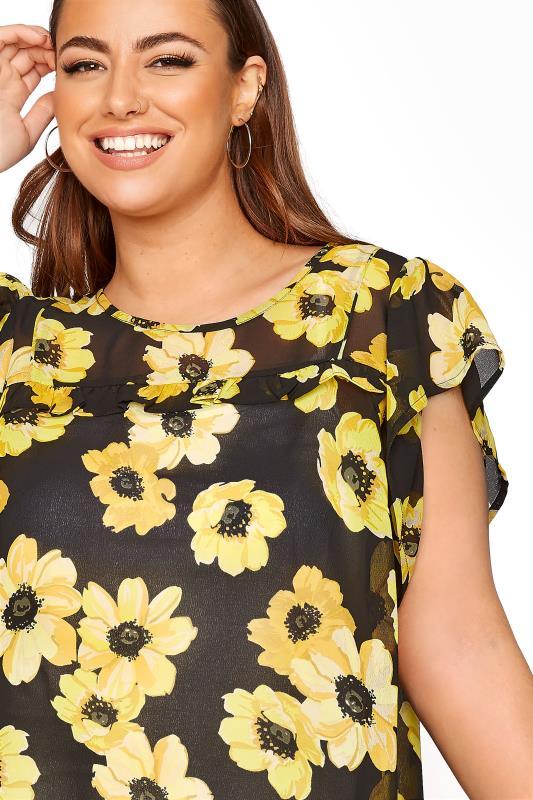 Black and Yellow Floral Frill Hem Tunic_D.jpg