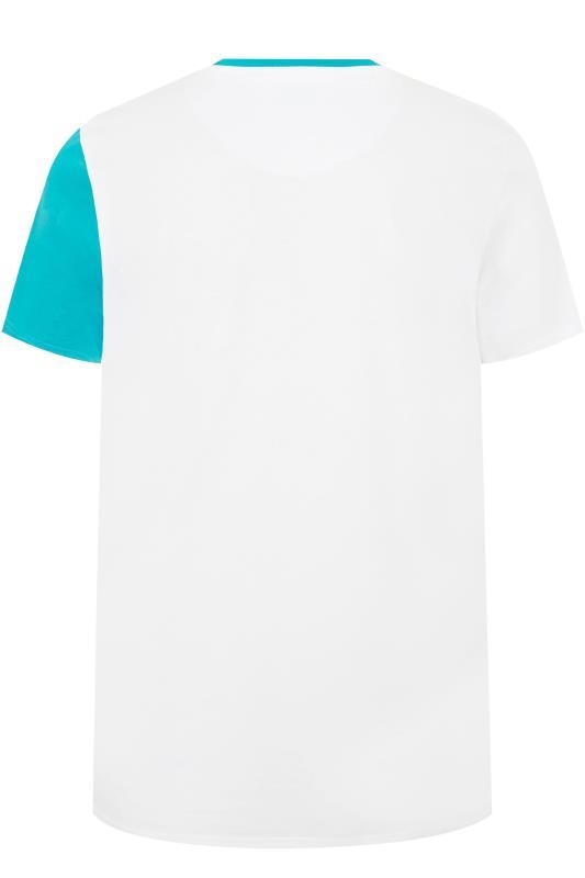 STUDIO A White & Blue Colour Block T-Shirt