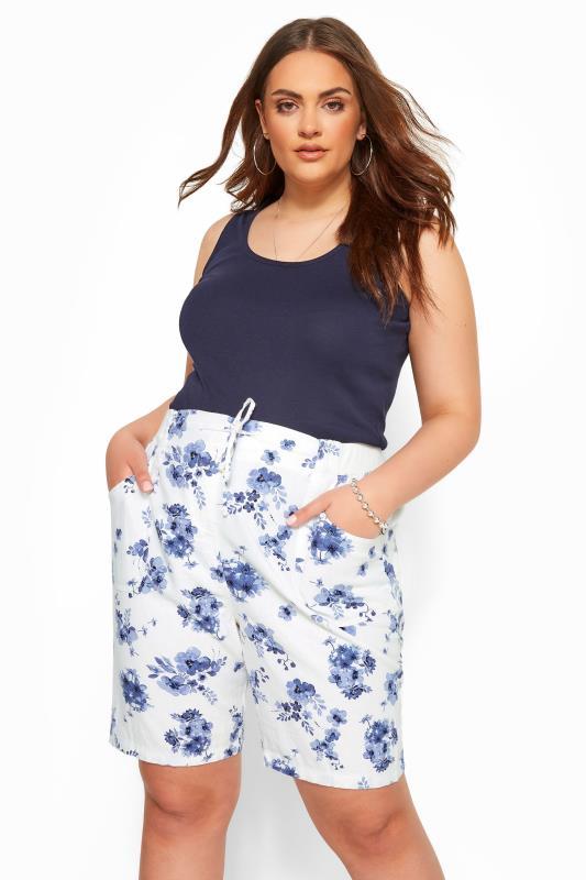 Plus Size Linen Mix Shorts White Floral Linen Mix Shorts
