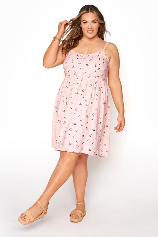 Pink Ditsy Floral Strappy Dress_A.jpg