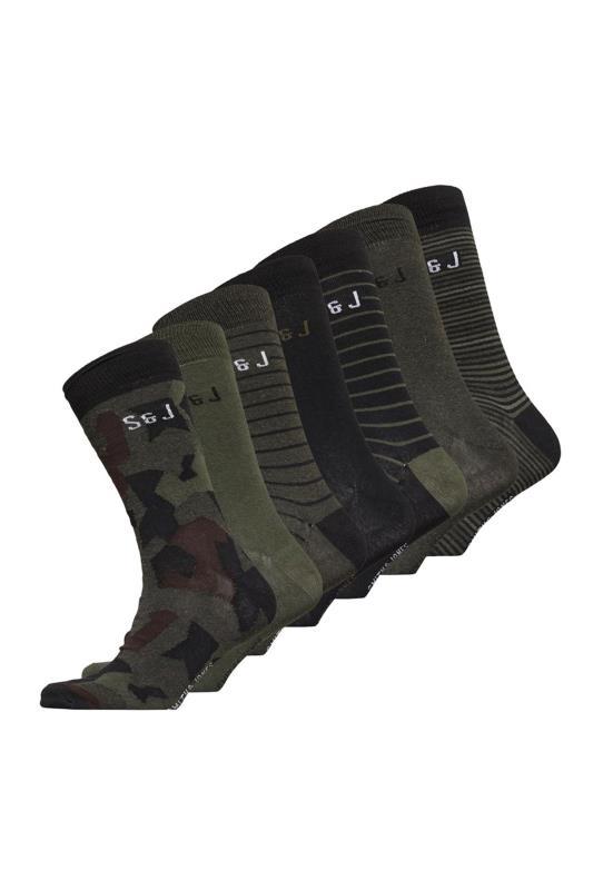 Plus Size  SMITH & JONES Khaki Multi Bilboa Socks 7 Pack